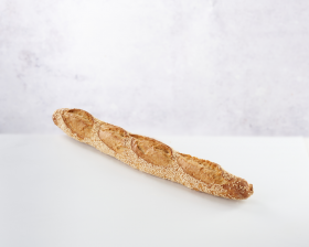 Sesame seed baguette front view