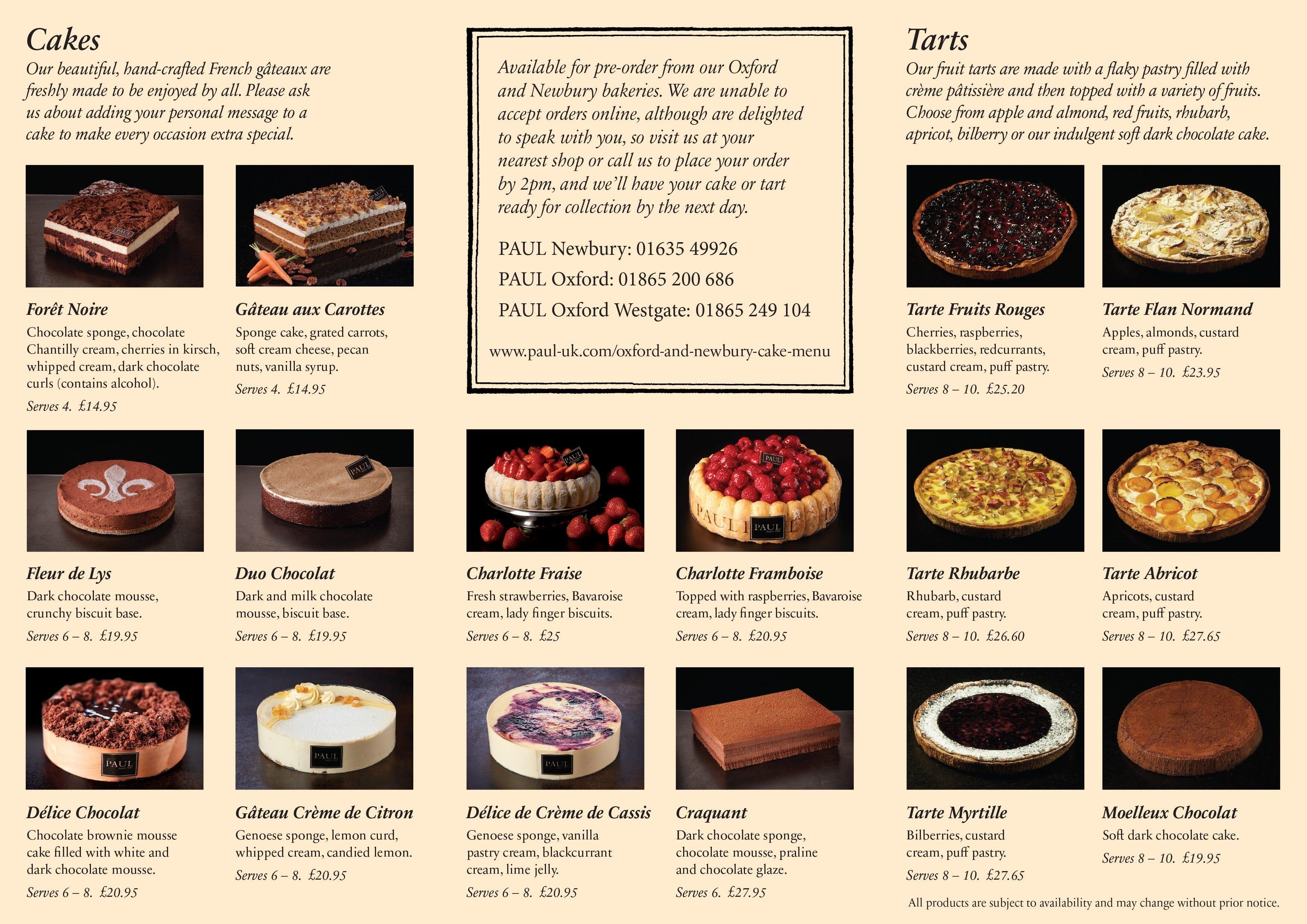 Oxford & Newbury Cake Menu